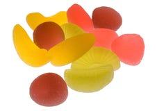 Translucent fruit jellies. On white background Stock Photos