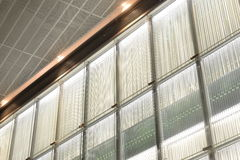 Translucent glass  wall and led  light Royalty Free Stock Photo