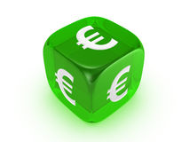 Translucent green dice with euro sign Stock Photography