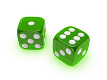 Translucent green dice on white background. Green translucent dice isolated on white background Royalty Free Stock Photos
