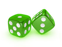 Translucent green dice on white background Royalty Free Stock Photo
