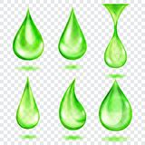 Translucent green drops Stock Photos