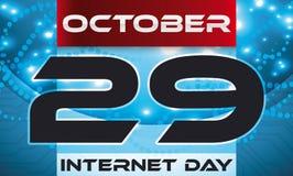 Translucent Loose-leaf Calendar over Networks for Internet Day Celebration, Vector Illustration. Banner with translucent loose-leaf calendar over glowing network Royalty Free Stock Photos
