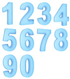 Translucent numbers. 3d rendering of the numer 0 to 9 in a blue translucent material Stock Images