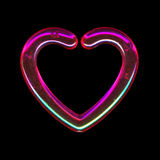 Translucent pink heart. On black Stock Photography