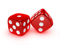 Translucent Red Dice On White Background Royalty Free Stock Photography
