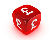 Translucent red dice with pound sign Royalty Free Stock Images