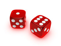 Translucent red dice on white background. Red translucent dice isolated on white background Stock Image