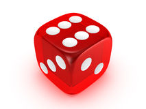 Translucent red dice on white background. Red translucent dice isolated on white background Stock Photo