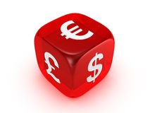 Translucent Red Dice With Currency Sign Royalty Free Stock Photography