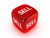Translucent Red Dice With Sell Sign Stock Image