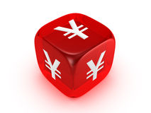 Translucent red dice with yen sign Royalty Free Stock Photo