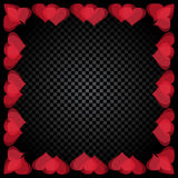 Translucent red heart shaped frame are located. Gradient Checker background. Valentine`s Day. illustration Royalty Free Stock Photography