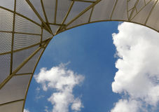 Translucent roof with opening to sky. It's a big world out there!  Don't be constrained, Move up.  Think OUTSIDE Royalty Free Stock Photo