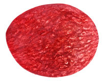 Translucent slice of red grape fruit Stock Photo