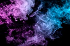 Translucent smoke rising to the top, illuminated by light on a dark background, multi-colored: blue, gray and pink, evaporating in. Waves exhaled from the vape vector illustration
