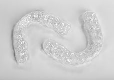 Translucent upper and lower essix retainers Royalty Free Stock Images