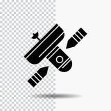 Transmisja, transmitowanie, radio, satelita, nadajnika glifu ikona na Przejrzystym tle Czarna ikona ilustracji