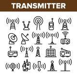 Transmisor, sistema linear de los iconos del vector de la torre de radio stock de ilustración