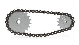 Transmissão Chain no fundo branco, rendição 3d ilustração stock