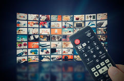 Transmissão video da televisão da parede dos multimédios fotografia de stock royalty free