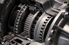 Transmission. Modern Automatic Car Transmission. Transmission Closeup Stock Photo