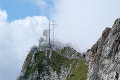 Transmission antennas at summit of Mount Pilatus. On the Swiss alps stock images