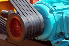 Transmission belt of big old engine Royalty Free Stock Images