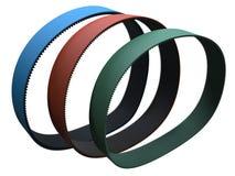 Transmission belts. Several transmission rubber belts, ribbed vector illustration