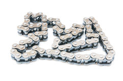 Transmission chain, isolated background. Transmission chain, iron chain, isolated background Royalty Free Stock Photos
