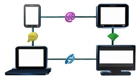 Transmission of data, video animation. Transmission of data and various devices, video animation Stock Photos