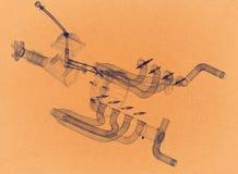 Transmission de voiture - rétro architecte Blueprint illustration libre de droits