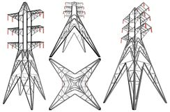 Transmission Electricity Tower Illustration Vector. Transmission Electricity Tower Isolated Illustration Vector Royalty Free Stock Images
