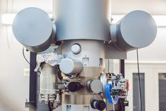 Transmission electron microscope in a scientific laboratory.  Royalty Free Stock Photo
