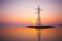 Transmission facilities in Dead Sea, Israel. Transmission facilities in Dead Sea in Israel at sunset Royalty Free Stock Photos