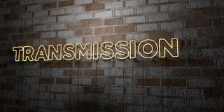 TRANSMISSION - Glowing Neon Sign on stonework wall - 3D rendered royalty free stock illustration. Can be used for online banner ads and direct mailers Stock Photo