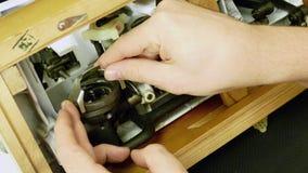 Transmission inside vintage sewing machine stock video