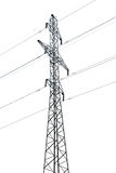 Transmission line. Column of a transmission line on a white background with a high iron wire large slender Royalty Free Stock Photos