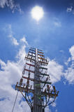 Transmission line. S in the Sun column royalty free stock photos