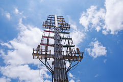 Transmission line. S in the Sun column stock images