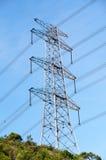 Transmission line. On blue sky background royalty free stock image