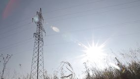 Transmission line in the autumn field stock video footage
