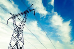 Transmission line. With blue sky Stock Photography