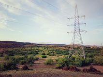 Transmission line. Electrical transmission and distribution line pic stock images