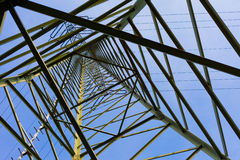 Transmission Line Pylon. Steel structure of pylon of high voltage electric power transmission line stock photography