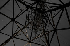 Transmission Line Pylon at Night Royalty Free Stock Photography
