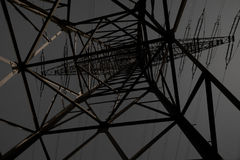 Transmission Line Pylon at Night Stock Image