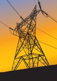 Transmission line silhouette at sunset Stock Images