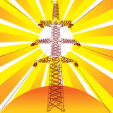 Transmission line with sun Royalty Free Stock Images