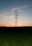 Transmission line sunset Royalty Free Stock Images
